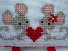 Pareja de ratoncitos con corazón. Labor terminada (5 colores)