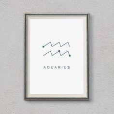 Aquarius Zodiac Sign, Minimalist decor, Print wall art, Home decor, Gift idea, Printable Wall Art Gift, Astrology Print, Astrology Gifts