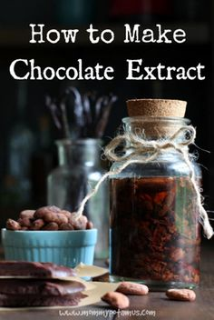 Vanilla has its own extract…why shouldn't chocolate? Imagine the pure, decadent yumminess of chocolate extract and all its many uses. This is like squeezing only the best goodness out of your favorite chocolate bar and bottling it up to use for special occasions. See the easy recipe at mommypotamus.com here… How to Make Chocolate Extract