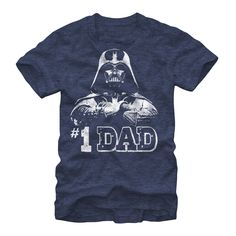 """Celebrate the patriarch of the Skywalker family with the Star Wars Number One Father Darth Vader Heather Navy Blue T-Shirt. A white print on the front of this cool navy blue Star Wars shirt reads """"#1 Dad"""" below Darth Vader with his arms crossed. 60% Cotton, 40% Polyester."""