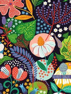 Cute and cool garden art for kids design ideas 11 - Round Decor Surface Pattern Design, Pattern Art, Pattern Painting, Pattern Illustration, Garden Illustration, Magazine Illustration, Motif Floral, Arte Pop, Textile Patterns