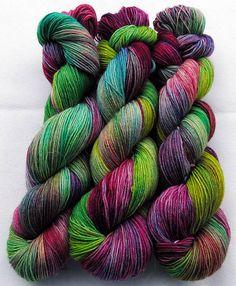 Piratenschmixis hand-dyed sock yarn    75% wool superwash / 25% nylon      Length: about 420m / 100g / fingering weight / 3.5 oz.    rec. Needles: