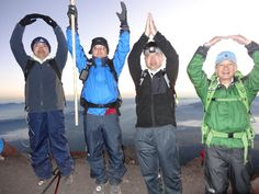 O-H-I-O at sunrise on the summit of Mt Fuji!
