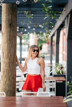 4th of July Outfit / White Crop Top + Red Skort / Chicago Style Blogger
