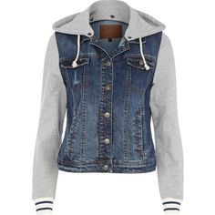 River Island Blue jersey sleeve hooded denim jacket ($30) ❤ liked on Polyvore featuring outerwear, jackets, tops, coats, sale, river island, blue denim jacket, hooded jean jacket, jersey jacket and jean jacket