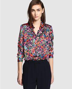 Camisa de satén de mujer Antea con estampado floral