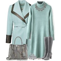Mint And Grey Coat by honkytonkdancer on Polyvore featuring L'Autre Chose, Prada, Miss Selfridge, Palm Beach Jewelry, Penny Preville, Kenneth Jay Lane, sweaterdress, pradabag, mintandgrey and pearlcollective
