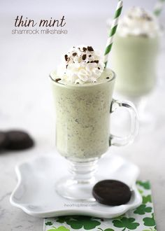 Love Girl Scout Cookies?! You'll love this creamy thin mint milkshake! Perfect dessert for Saint Patrick's Day!