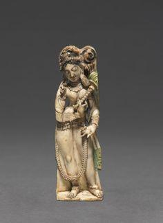 Female Attendant Bearing Fly-Whisk (Chauri), 8th Century India, Kashmir, 8th century ivory