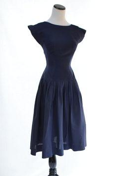 Vintage Navy Blue Jacquard Dress // 50s Vintage Dress // Cap Sleeves Dress // Size S Dress // Size 2 - 4 Dress // Indigo Blue Dress