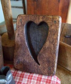 Beautiful Maple Sugar Mold something about the way this wood looks. i think i'd like to feel the texture. Primitive Antiques, Country Primitive, Primitive Kitchen, Primitive Decor, Heart In Nature, Heart Art, Valentines Day Hearts, Valentine Heart, Valentine Ideas