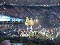 2 radio controlled yellow submarines in the opening ceremony