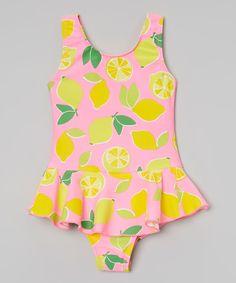 4cd8125297c00 Look at this Daisy s Swimwear Pink  amp  Yellow Lemon Skirted One-Piece -  Girls