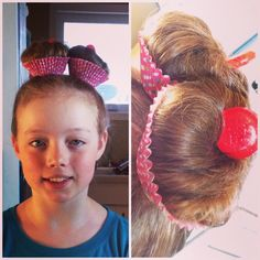 Wacky Hair Day.  1. High pigtails 2. Back comb 3. Loose bun twists, secure 4. Cut down side of cupcake liner and cut out bottom 5. Wrap around and secure cut sides. (Staple/tape) 6. Garnish!  Model: @Jayla Loves JB