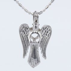 Angel Pearl Cage Pendant with Chain