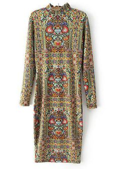 so chic. Multicolor Floral Print Long Sleeve Dress