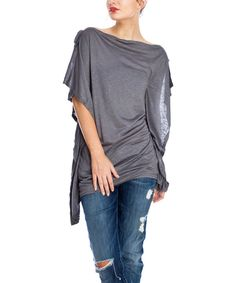 Look at this Open Gates Charcoal Gray Sidetail Boatneck Top on #zulily today!