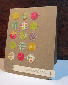 """Here is another card I made using the Cosmo Cricket UPcycle collection.   I simply punched 5/8"""" circles, adhered them with a tiny bit of adh..."""