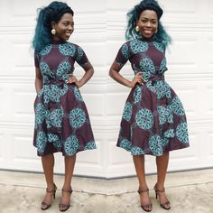 African Ankara women dress brown and green knee by Veroexshop