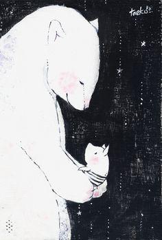 Taeko OZAKI, Japan---A very gentle-looking bear. Bear Illustration, Bear Art, Love Art, Japanese Art, Illustrations Posters, Drawings, Artwork, Prints, Pig Art