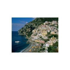 Amalfi Coast, Coastal View and Village, Positano, Campania, Italy... (140 BRL) ❤ liked on Polyvore featuring home, home decor, wall art, european home decor, photography wall art and photographic wall art