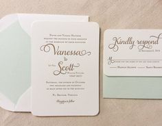 The Honeysuckle Suite - Classic Letterpress Wedding Invitations, Mint, Green, Gold, Traditional, Modern, Timeless, Script, Swirls, Simple