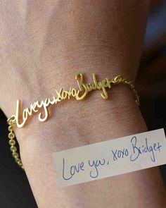 Turn your handwriting into a piece of jewelry: All you have to do is send in a photo of your message and bigE jewelry will craft it into a customized bracelet, necklace, or ring. bigEjewelry Personalized Signature Bracelet, $46; etsy.com.