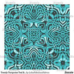Trendy Turquoise Teal Blue African Mosaic Pattern Fabric Bohemian Fabric, Pattern Fabric, Mosaic Patterns, Pigment Ink, Teal Blue, Custom Fabric, Crafts To Make, Printing On Fabric, Sewing Projects