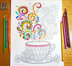 Tea Cup Coloring Page from Thaneeya McArdle's Follow Your Bliss Coloring Book http://www.amazon.com/gp/product/1574219960/ref=as_li_tl?ie=UTF8&camp=1789&creative=390957&creativeASIN=1574219960&linkCode=as2&tag=arisfu-20&linkId=E4OOUSZ27YWLT73P