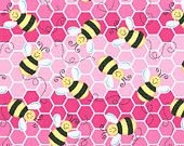 Bumble Bee Pink Fabric-Cutest Ever-Curtains-Quilts-Baby Decor-Table Runners-Pillows. $8.00, via Etsy.