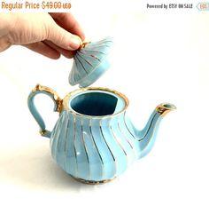 Winter Blahs Sale Sadler tea pot vintage blue by Kimscottageloft