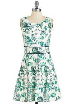 Garden the Interruption Dress. Press pause on todays packed schedule for a quiet stroll through the park in this lovely white frock - available in March.  #modcloth