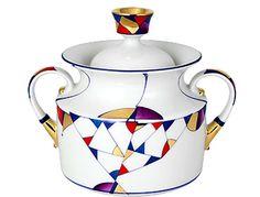 Lomonosov Porcelain 'Kaleidoscope' Sugar Bowl 5 1/2 Inch