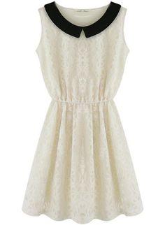 White Contrast Collar Sleeveless Lace Waist Dress