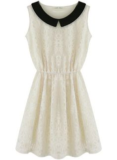 White Contrast Collar Sleeveless Lace Waist Dress
