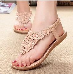 2014 Ms. sandals. New Bohemian beaded shoes sandals lady sandals with flowers flat  free shipping US $9.50 - 9.99