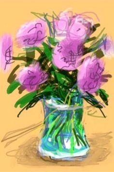 David Hockney -- Digital art done on an iPhone. See more of David Hockney's iPhone & iPad art in the Digital File. Art And Illustration, Peter Blake, David Hockney Ipad, Pop Art Movement, Edward Hopper, Ipad Art, Paul Klee, Arte Floral, Art For Art Sake