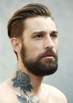 mens hairstyles with beard slicked back