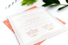 Love the SAVOY paper from Reich Paper. Coral Gold Foil Glam Wedding Invitations Alisa Bobzien5 #reichpaper #savoy paper
