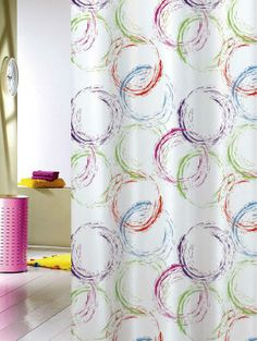 Free Shipping Pretty Multi-coloured Colorful Circles Fabric Shower Curtain Y8297
