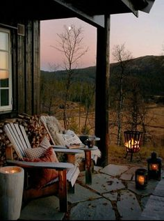 hygge home inspiration Outdoor Spaces, Outdoor Living, Outdoor Decor, Outdoor Life, Garden Cottage, Home And Garden, Cottage Porch, Cabin In The Woods, Up House