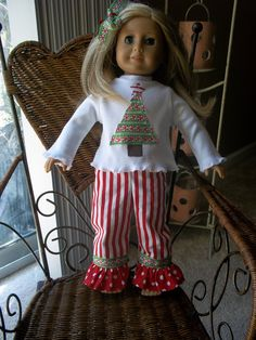 18 inch doll red striped pants with by LittlePrettyBoutique, $12.00