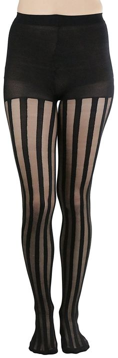 a4adb3701 FashionCatch Women s Sheer Striped Full Footed Pantyhose One Size Black