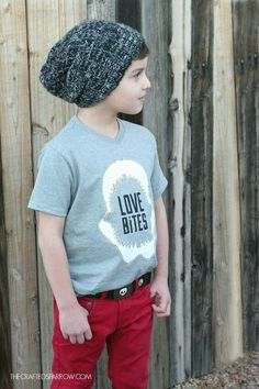 Love bites is the cutest DIY Boys shirt for Valentines day!! Such a cute shirt and the boys love wearing it! Click for tutrial