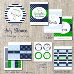 """preppy boy baby """"shower"""".... I like this color scheme too"""