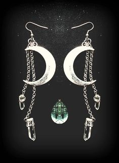 Moon Earrings, Luna, Quartz Crystal Points, Hippie Witch, Silver Moon,  Crescent Moon, Waning Moon