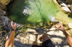 Stock Photo : Man jumping on river pool from POV. High Resolution Photos, Man Photo, Summer Time, River, Stock Photos, Fit, Nature, Image, Daylight Savings Time