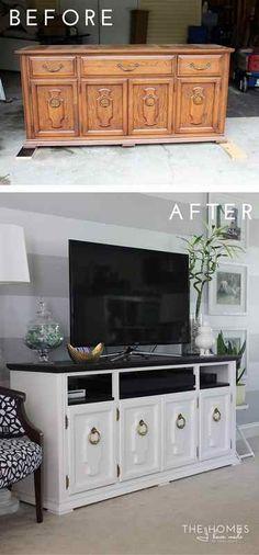 Transformation d'un buffet ancien en meuble TV - déco DIY