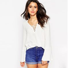 2b16aa8ff5fcca Aliexpress.com   Buy 2016 Summer Fashion Women s Blouse Suit dress All  White Pure Color Feminine Blusa Front Lace up Super Cheap Price Easy Match  from ...