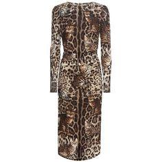 Dolce Gabbana Printed Silk Dress ($2,012) ❤ liked on Polyvore featuring dresses, dolce gabbana dress, silk dress, brown silk dress and brown dress